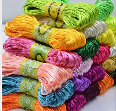 10M Chinese Knot Satin Nylon Braided Cord Macrame Beading Rattail Wire Cord 2MM
