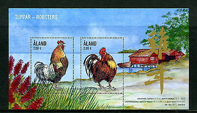 Aland 2016 MNH Roosters 2017 Year of Rooster 2v M/S Chinese New Year Stamps