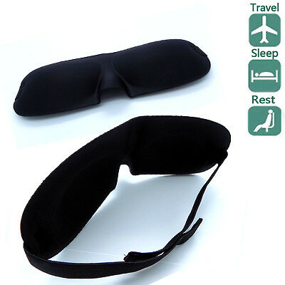 Unisex Soft Padded Blindfold Travel Rest Sleep Aid Shade Cover 3D Eye Mask Black