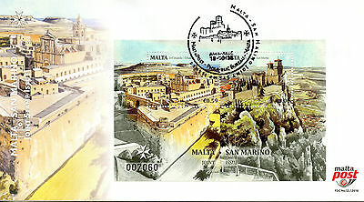Malta 2016 FDC JIS Joint Issue San Marino 2v M/S Cover Architecture Stamps