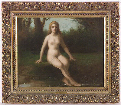 """Jules Armand Hanriot (1853-1921) """"Bathing Beauty"""", Oil on Panel, late 19th c."""