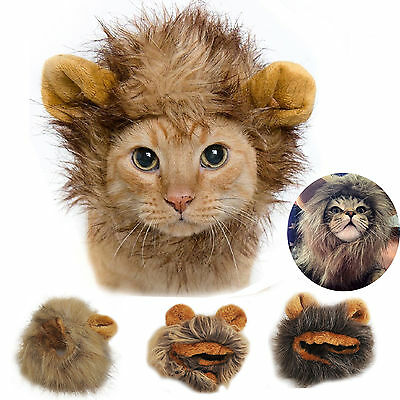 Pet Costume Lion Mane Wig For Small Dog Cat Fancy Dress Festival Hat With Ears