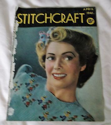 ORIGINAL, VINTAGE ,STITCHCRAFT MAGAZINE, APRIL1941 with FREE TRANSFERS