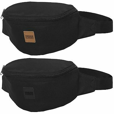 URBAN CLASSICS HIP BAG black Bauchtasche Gürtel Tasche Patch Triple Zip variabel