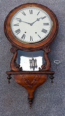 Antique Mahogany Drop Dial Clock With An 8-Day Ansonia Movement
