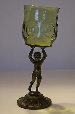 Antique Bronze And Depression Glass Figurine Bronze Boy Candle Holder