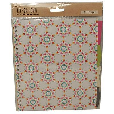 La De Dah Assorted Pretty Creative Craft Journal Diary Ringbinder Dividers x 4