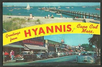 1957 Greetings From Hyannis Cape Cod FW Woolworth Chevrolet Cadillac Buick Olds
