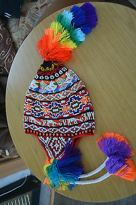 Festival Hand Made Peruvian Chullo Hat With Beads Multicoloured Rave