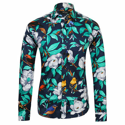 Luxury Mens Floral Shirt Casual Slim Fitted Long Sleeve Paisley Printed Shirts