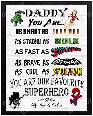 Personalised SUPERHERO Father's Day Gift Dad Daddy Grandad Uncle Present For Him
