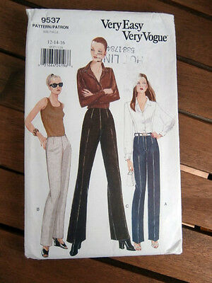 Oop Very Easy Vogue 9537 Misses straight legged pants size 12-16 NEW
