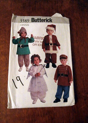 Oop Butterick 3589 toddlers costumes hats santa angel drummer boy sizes 1- 4 NEW
