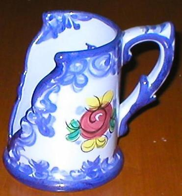 "Ceramic, Blue Themed, Half-Mug Candle Holder - Made in Portugal - 4 1/2"" Height"