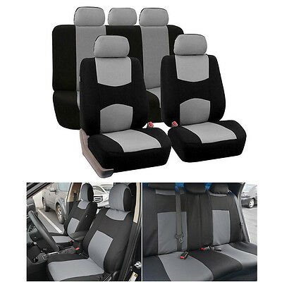 Fit For S / M Size Car Grey Gray 5-Seats Seat Cover Mesh Polyester Front+Rear