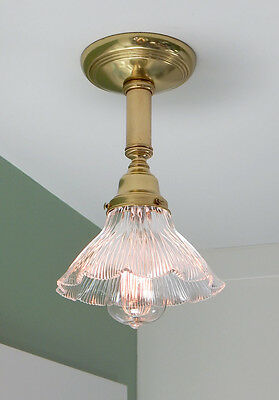 Vintage Brass Holophane Ceiling Light Fixture