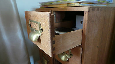 vintage oak index library cabinet / drawers