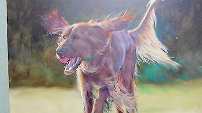 oil painting of  red setter