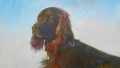 oil painting of Irish red setter