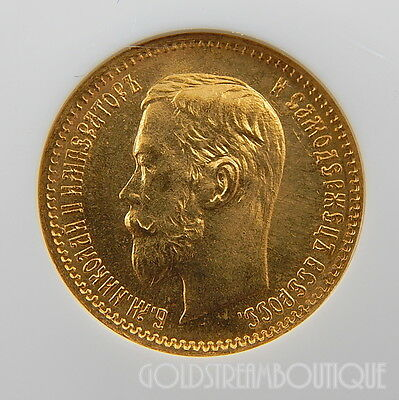 1902 Russia 5 Roubles Cert Ngc As Ms-65 Authentic And Collectible Gold Coin