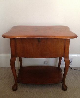 Vintage Side / Lamp Table With Built In Lined Sewing Box