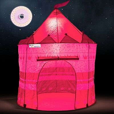 Kids Authority Girl's Pink Princess Castle Play Tent with LED light & Glow in