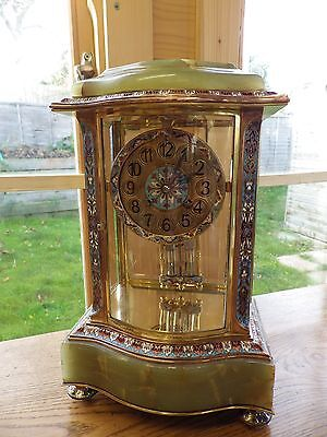 Cloisonné enamel French Crystal Regulator Mantle Clock Fully Restored Circ 1890s