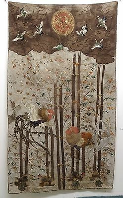 Large fine 19th century antique Chinese / Japanese embroidered wall hanging