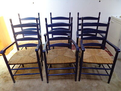 Set 6 Ladderback Rush Seat Dining Chairs can courier
