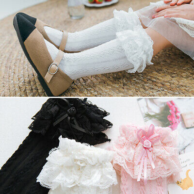 Girl Kids Children Toddler Knee High Soft Cotton Socks Bow & Frilly Lace 9m-6yrs