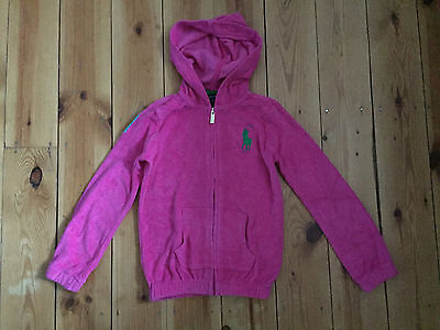 Ralph Lauren Girls Bright Pink Towelling Hoodie - Age 6 Years
