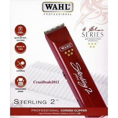 Wahl Sterling 2 Plus 5* Professional Rechargeable Cordless Trimmer  (UK Plug)