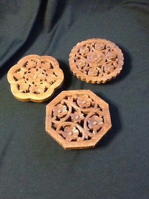Lot of 3 Vintage Hand Carved Wooden Trivets Made in India