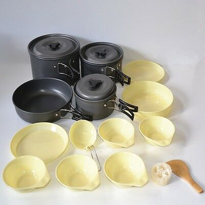 New 14 in1 Outdoor Camping Hiking Cooking Pot Utensils Set  (DS-500)