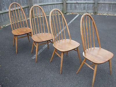 Set of four (4) vintage Ercol Quaker chairs, 1960s, original blonde elm & beech