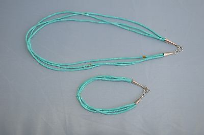 Native American Indian Seed beads turquoise sterling silver Necklace Bracelet