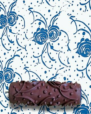 Roses and Ribbons DIY Pattern Paint Roller 15cm Wall Texture Decoration Stencil