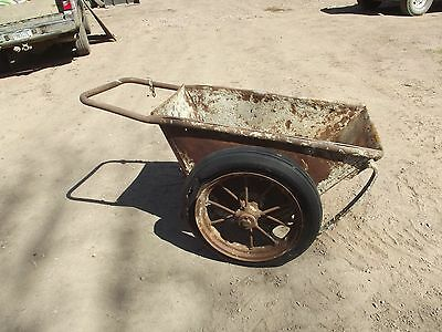 Vintage Industrial Steam Punk Cement Garden Cart Buggy W/ Spoke Wheels