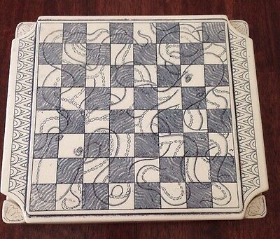 Vintage Comoy's Stone/Ceramic Octopus Chess Board Made in England