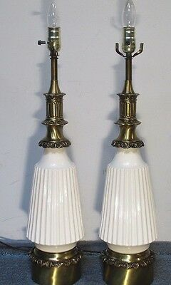 Vintage Table Lamps Pair (2) Cream Ornate Restored Wired