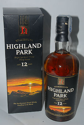 WHISKY HIGHLAND PARK 12 YEARS OLD IN BOX RARE  SINGLE MALT  70cl.