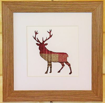 Scottish Art Stag Deer Framed Picture with Eyecatching Red/Pink Tweed