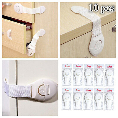 10pcs Baby Child Kids Adhesive Door Cupboard Cabinet Fridge Drawer Safety Locks