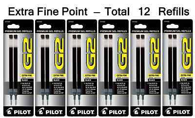 Pilot G2 Gel Ink Refill, 2-Pack for Rolling Ball Pens, Extra Fine Point, Black I