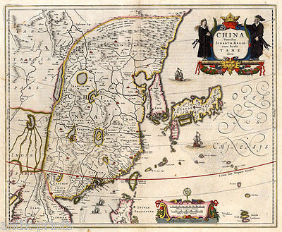 China - Japan - Nihon - Nippon - Asien - Asia - Karte-Map Janssonius 1650