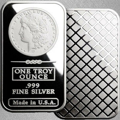 1oz Silver Bullion Bar – Morgan Dollar Design – .999+ Pure Silver