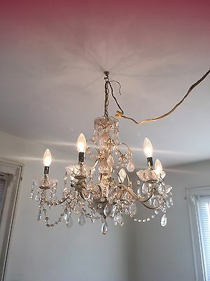 Antique Vintage 6 Arm Brass And Crystal Bobeche & Prisms Chandelier