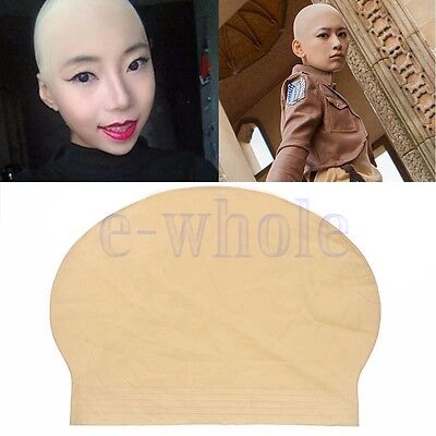 Fake Latex Flesh Skin Unisex Bald Head Wig Cap Rubber Skinhead Costume Prank H5