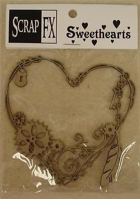 Steampunk Wire Heart Small Chipboard Embellishment by ScrapFX Chippies