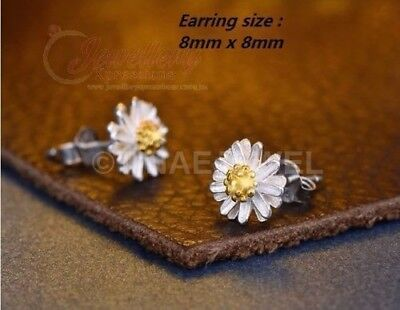 925 Sterling Silver Daisy Flower Stud Earrings E082